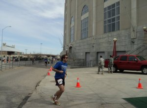 Lincoln Marathon Finish - entering the hallowed grounds of Memorial Stadium